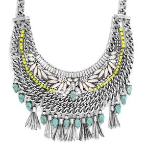 Baublebar Alessandra Turquoise Bib Tassel Silver